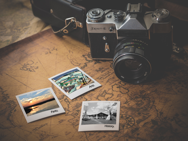 Camera and Map with Arts, Parks, and History Poloroids.